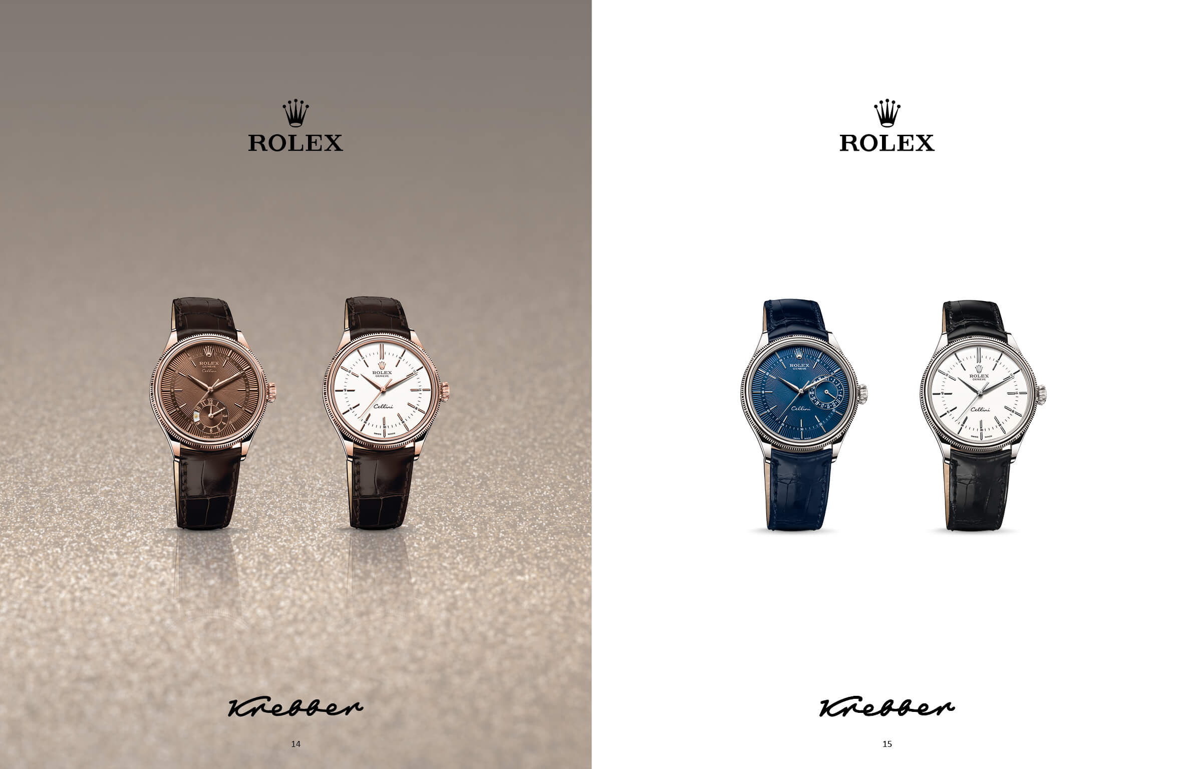 Doppelseite mit Rolex-Uhren